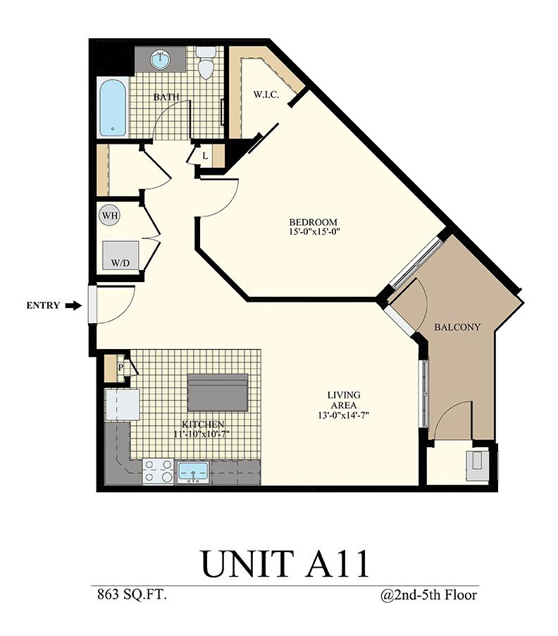 Station at Willow Grove One Bedroom Floor Plan Unit A11