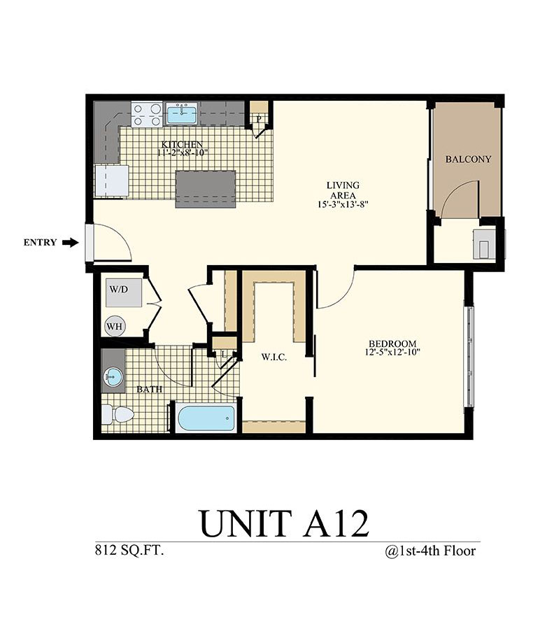 Station at Willow Grove One Bedroom Floor Plan Unit A12