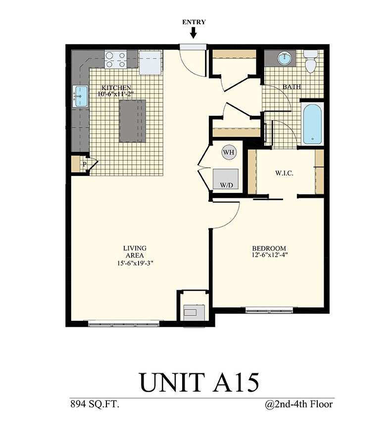 Station at Willow Grove One Bedroom Floor Plan Unit A15