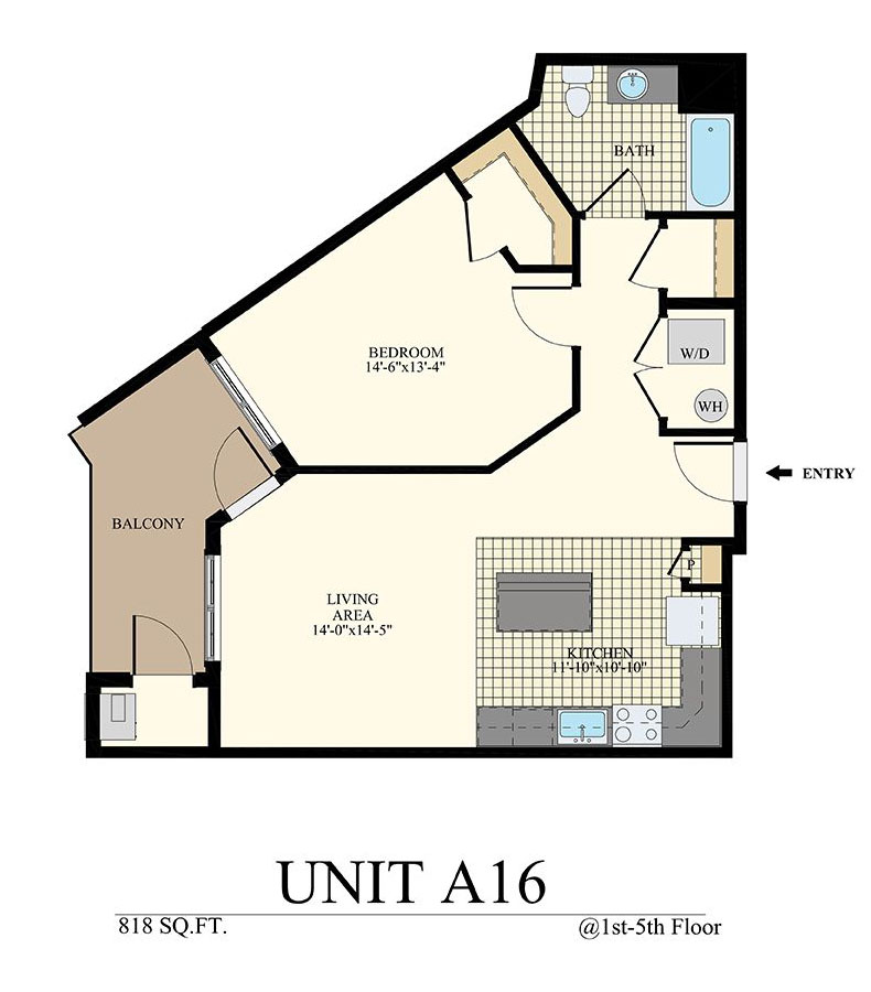 Station at Willow Grove One Bedroom Floor Plan Unit A16