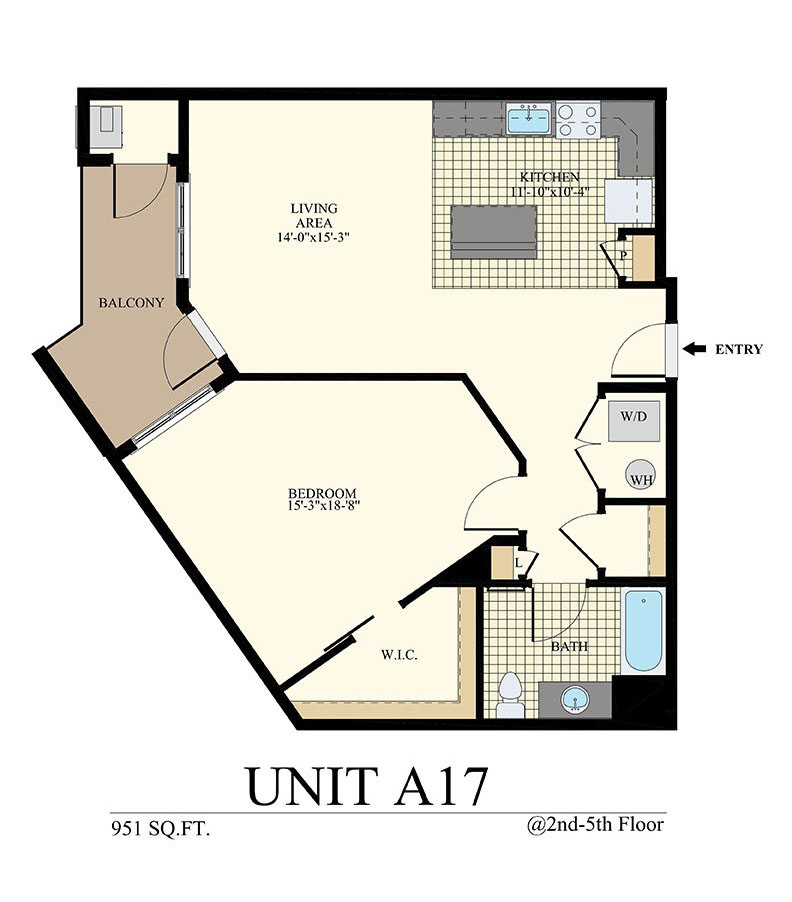 Station at Willow Grove One Bedroom Floor Plan Unit A17