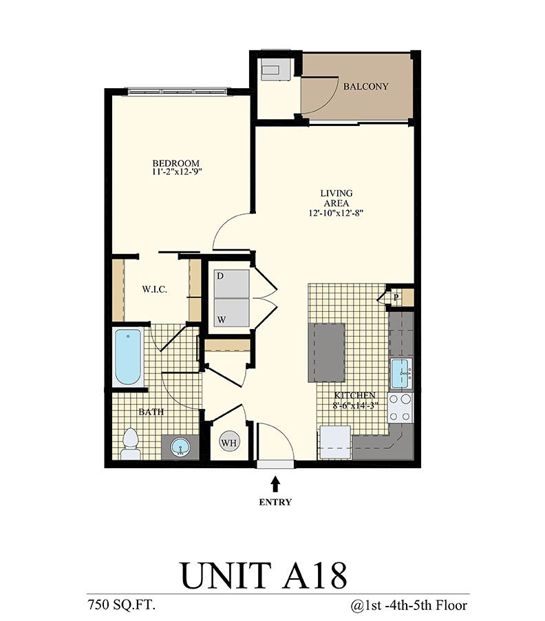 Station at Willow Grove One Bedroom Floor Plan Unit A18