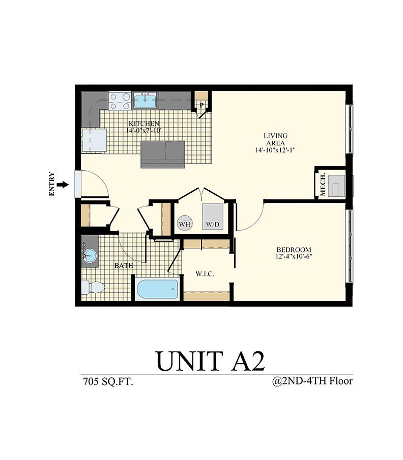 Station at Willow Grove One Bedroom Floor Plan Unit A2