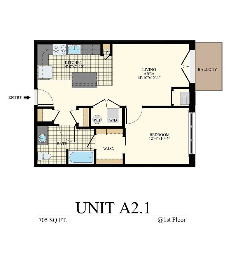 Station at Willow Grove One Bedroom Floor Plan Unit A2.1