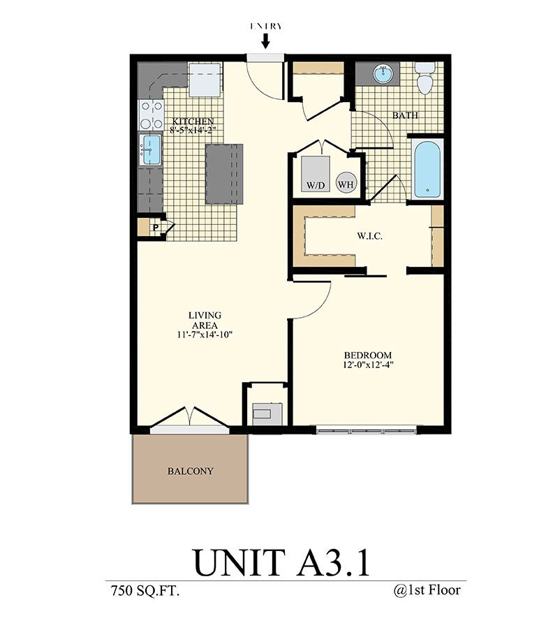 Station at Willow Grove One Bedroom Floor Plan Unit A3.1