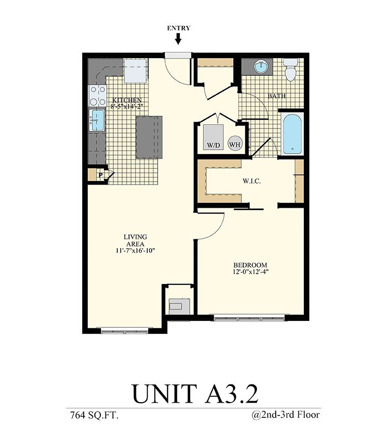 Station at Willow Grove One Bedroom Floor Plan Unit A3.2