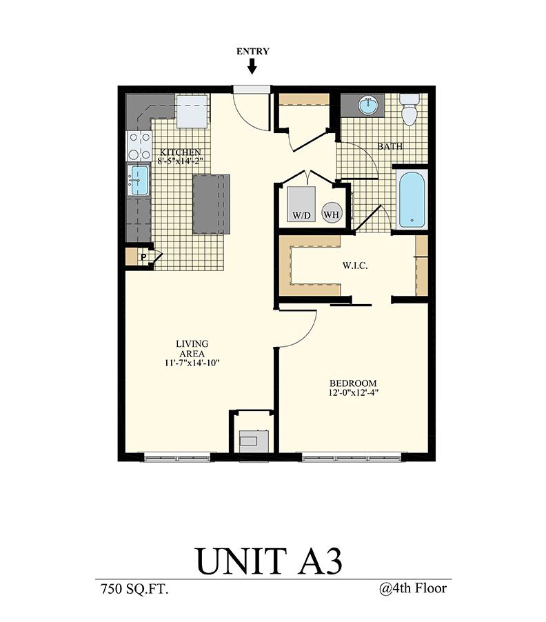 Station at Willow Grove One Bedroom Floor Plan Unit A3