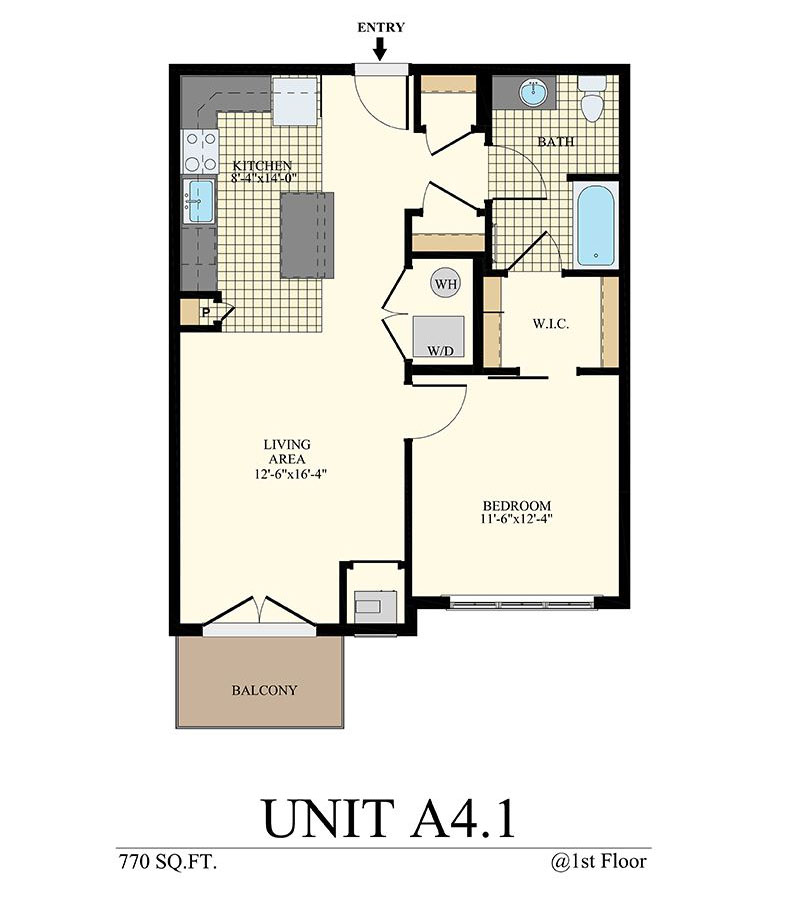 Station at Willow Grove One Bedroom Floor Plan Unit A4.1