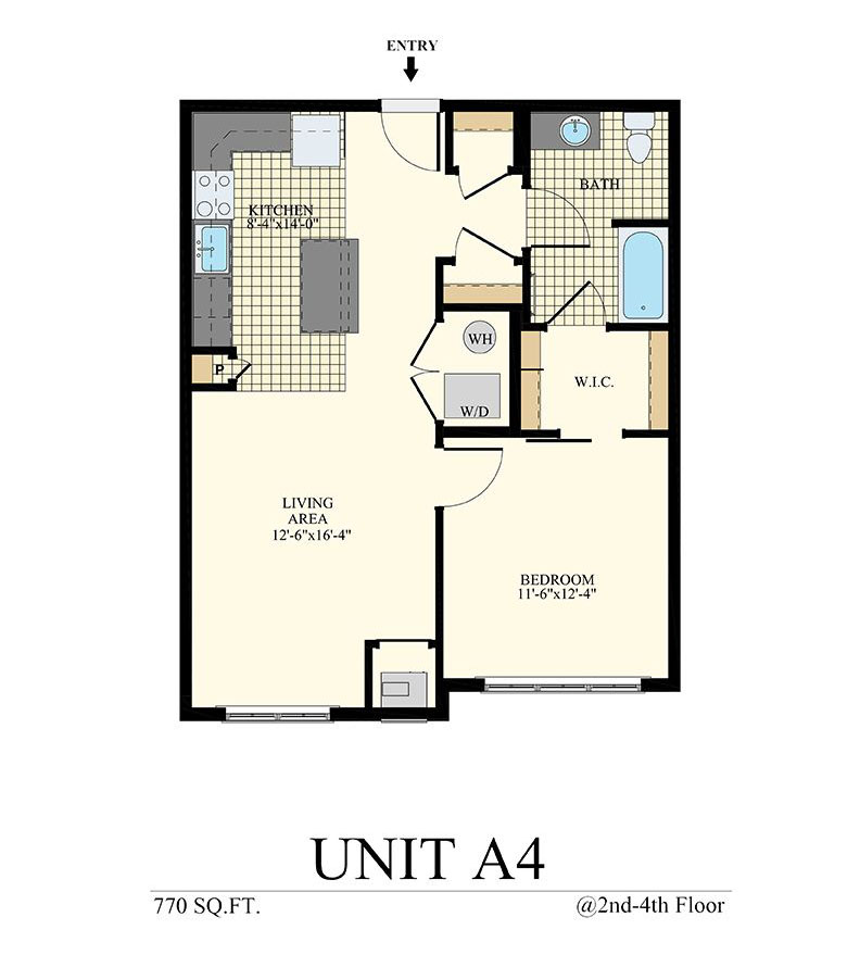 Station at Willow Grove One Bedroom Floor Plan Unit A4