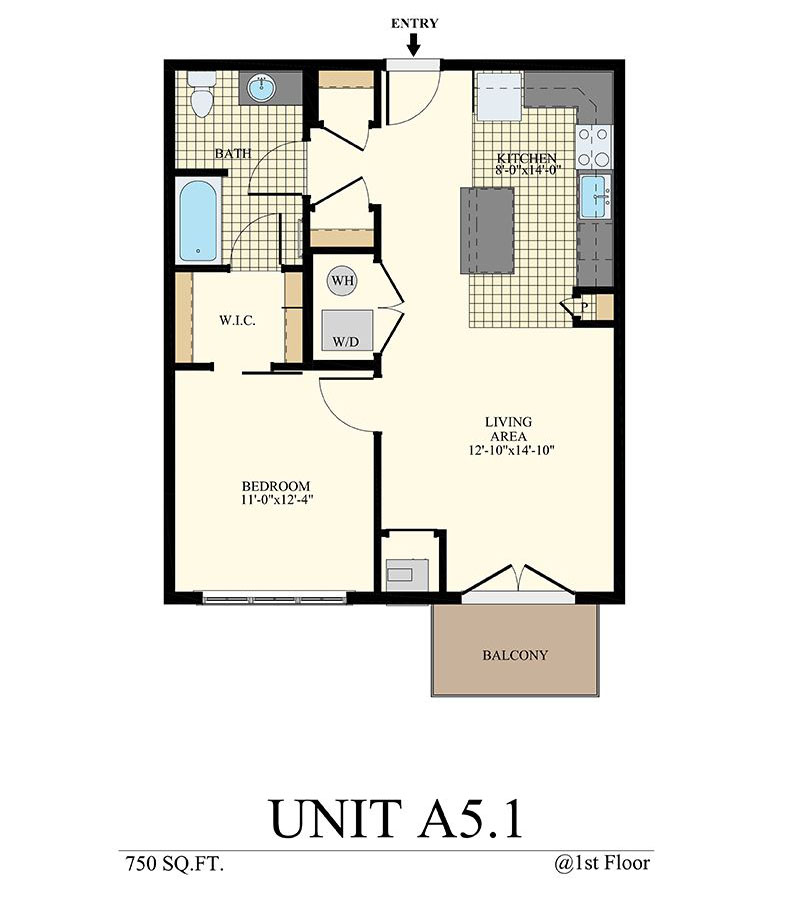 Station at Willow Grove One Bedroom Floor Plan Unit A5.1