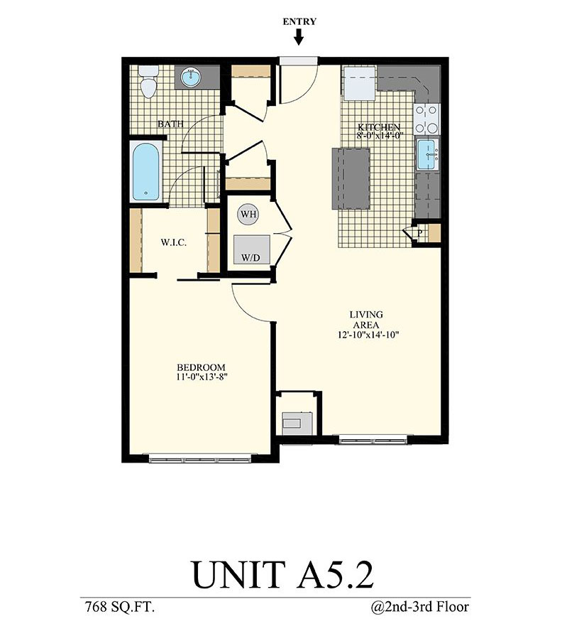 Station at Willow Grove One Bedroom Floor Plan Unit A5.2