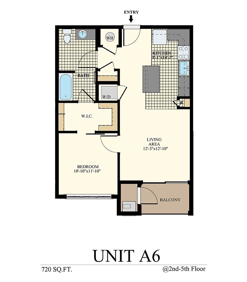 Station at Willow Grove One Bedroom Floor Plan Unit A6