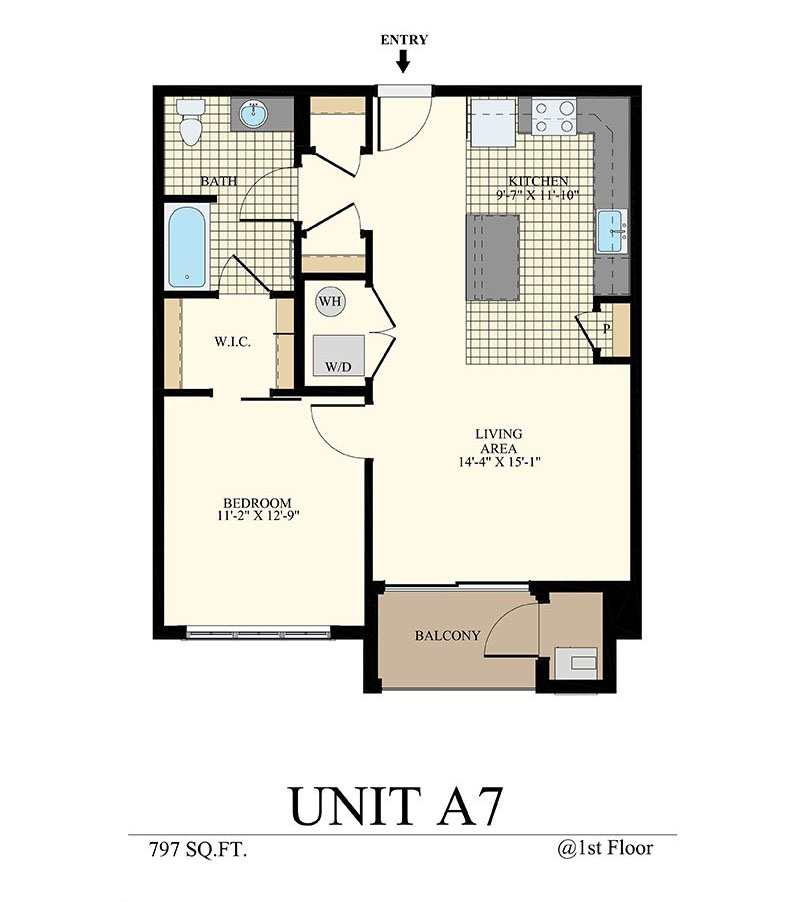Station at Willow Grove One Bedroom Floor Plan Unit A7