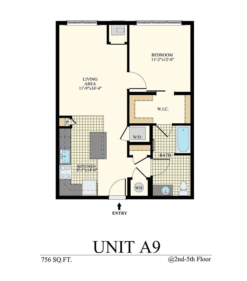 Station at Willow Grove One Bedroom Floor Plan Unit A9