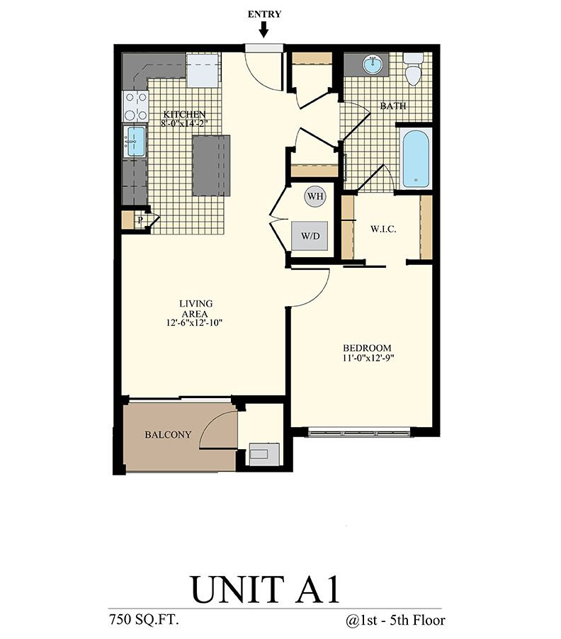 Station at Willow Grove One Bedroom Floor Plan Unit A1