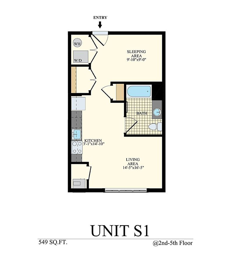 Studio Floor Plan Unit S1 with 549 sq ft at Station at Willow Grove
