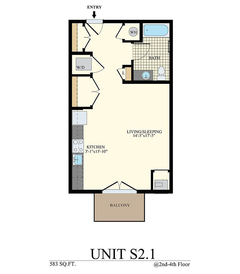 Studio Floor Plan Unit S2.1 with 583 sq ft, balcony, & washer/dryer at Station at Willow Grove