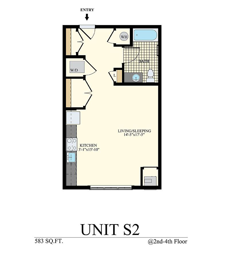 Studio Floor Plan Unit S2 with 583 sq ft at Station at Willow Grove
