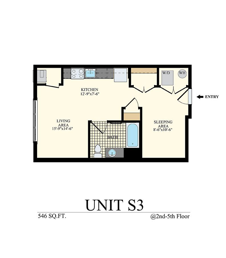 Studio Apartment in Willow Grove, PA Floor Plan Unit S3 with 546 sq ft at Station at Willow Grove