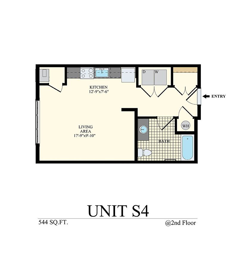: Willow Grove, PA Apartment Studio Floor Plan Unit S4 with 544 sq ft at Station at Willow Grove