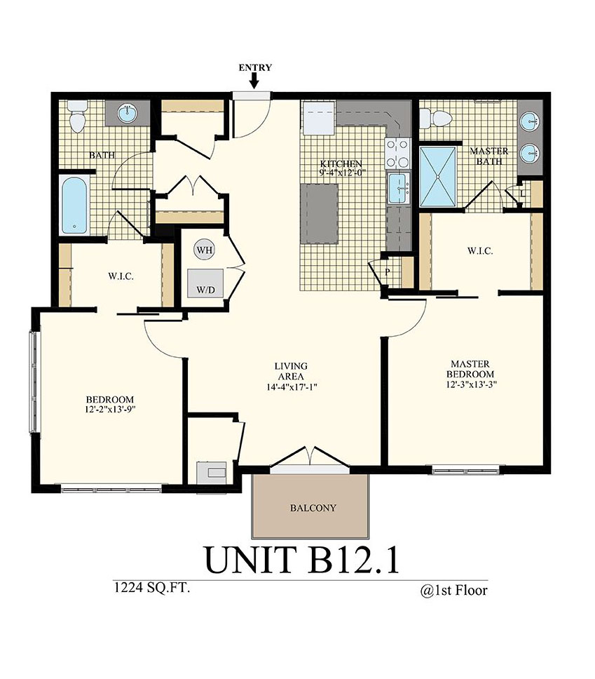 Station at Willow Grove Two Bedroom Floor Plan Unit B12.1