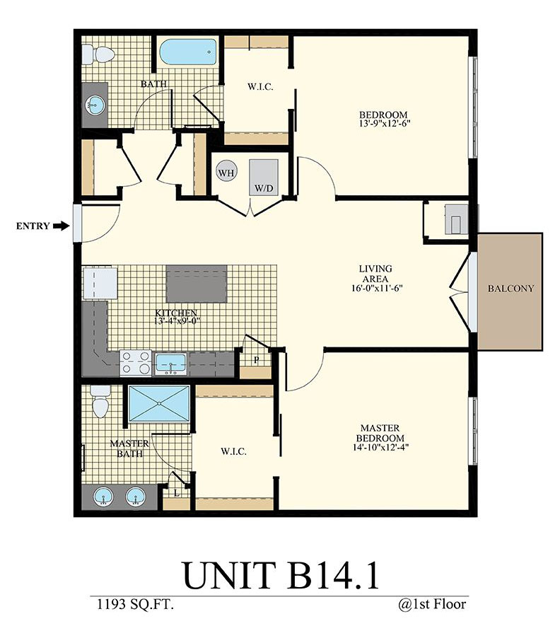 Station at Willow Grove Two Bedroom Floor Plan Unit B14.1