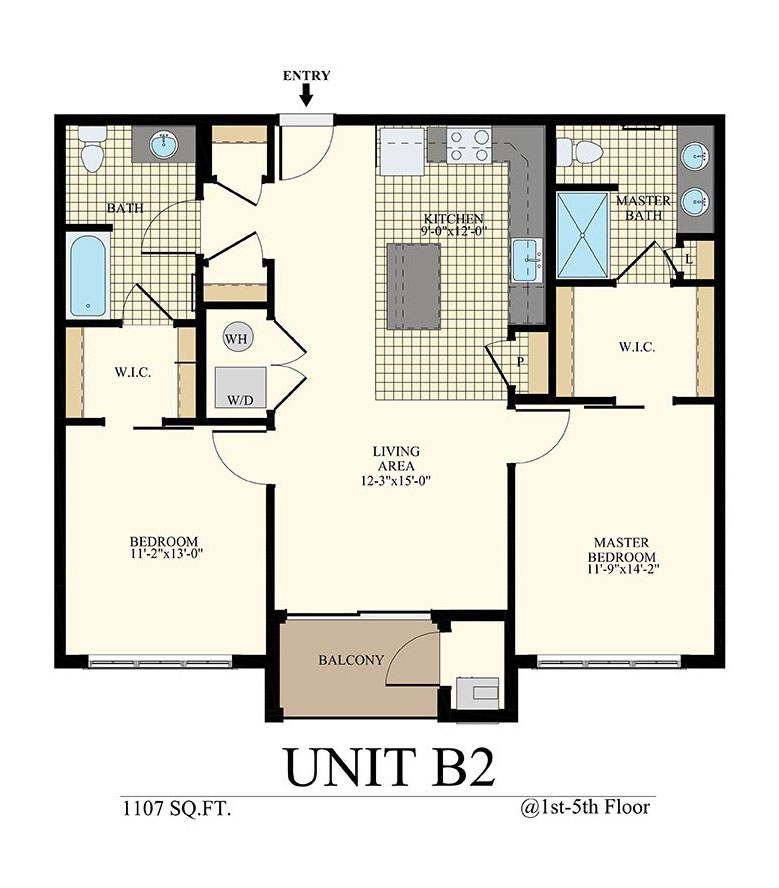 Station at Willow Grove Two Bedroom Floor Plan Unit B2