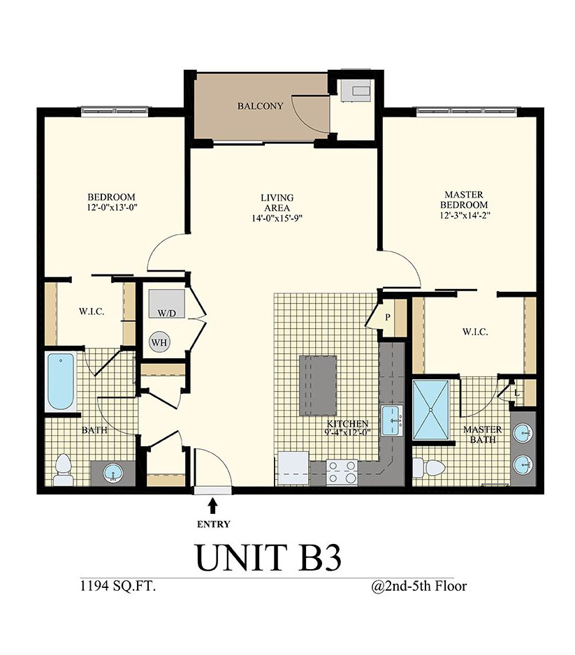 Station at Willow Grove Two Bedroom Floor Plan Unit B3