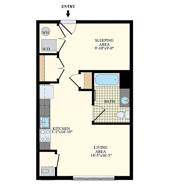 2-bedroom floor plan unit B1 with 1,133 sq ft at Station at Willow Grove