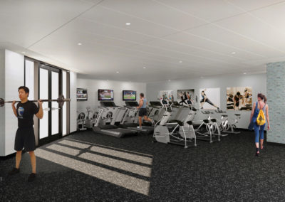 State-of-the-art fitness center with cardio and weightlifting equipment in Willow Grove apartments.
