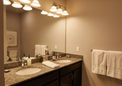 Willow Grove apartment bathroom with double vanity