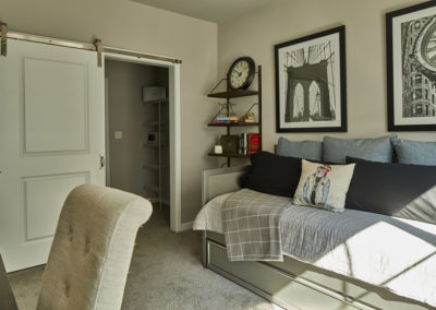 Furnished bedroom with large closets at a Willow Grove apartment
